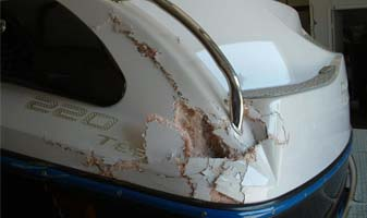 port carling boat repair - collision and accidents. Holes, fiberglass damage
